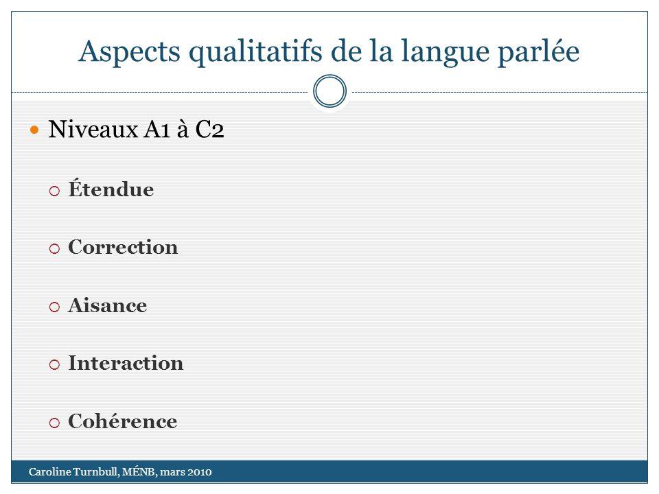 Aspects qualitatifs de la langue parlée Caroline Turnbull, MÉNB, mars 2010 Niveaux A1 à C2 Étendue Correction Aisance Interaction Cohérence