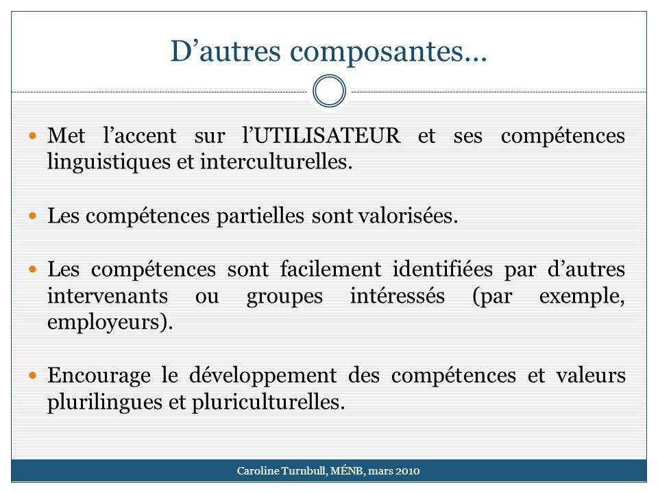 Dautres composantes… Caroline Turnbull, MÉNB, mars 2010 Met laccent sur lUTILISATEUR et ses compétences linguistiques et interculturelles.