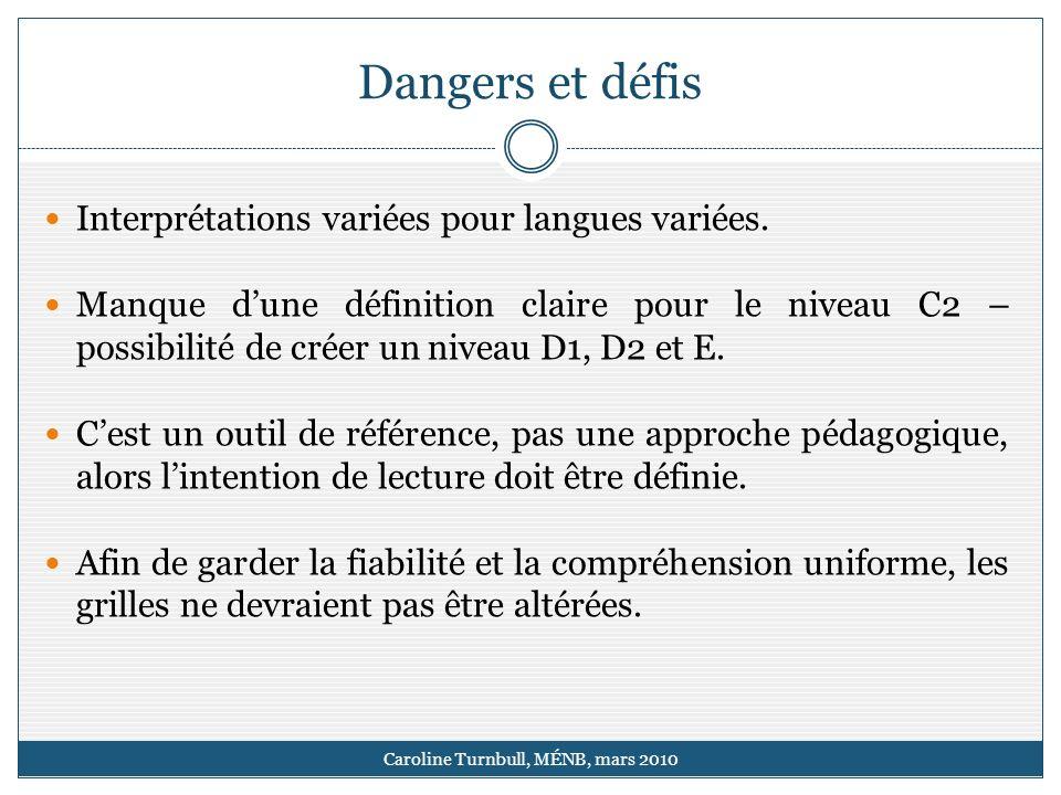 Dangers et défis Caroline Turnbull, MÉNB, mars 2010 Interprétations variées pour langues variées.