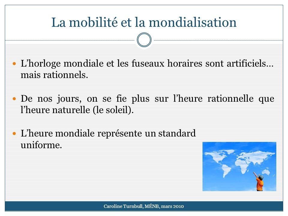 La mobilité et la mondialisation Caroline Turnbull, MÉNB, mars 2010 Lhorloge mondiale et les fuseaux horaires sont artificiels… mais rationnels.