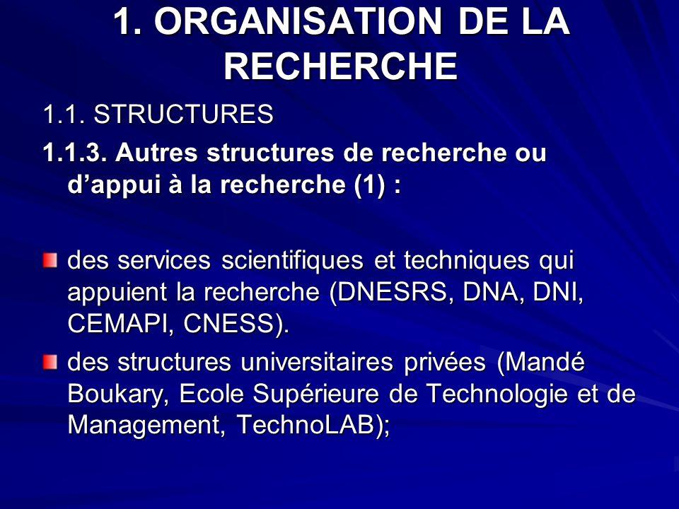 1. ORGANISATION DE LA RECHERCHE 1.1. STRUCTURES 1.1.3. Autres structures de recherche ou dappui à la recherche (1) : des services scientifiques et tec