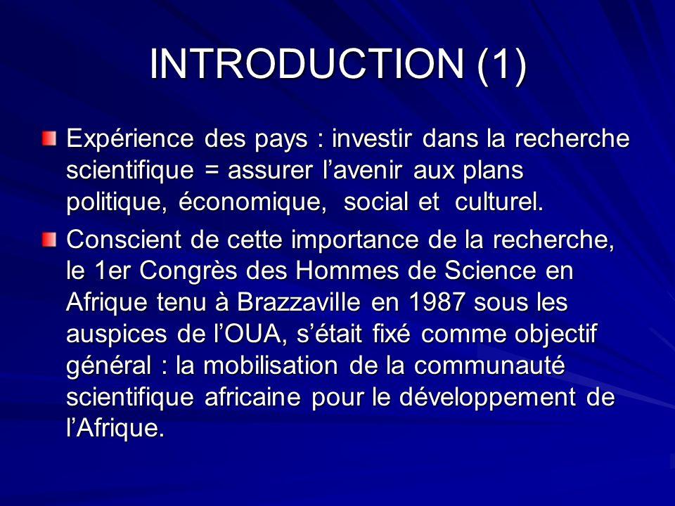 INTRODUCTION (1) Expérience des pays : investir dans la recherche scientifique = assurer lavenir aux plans politique, économique, social et culturel.
