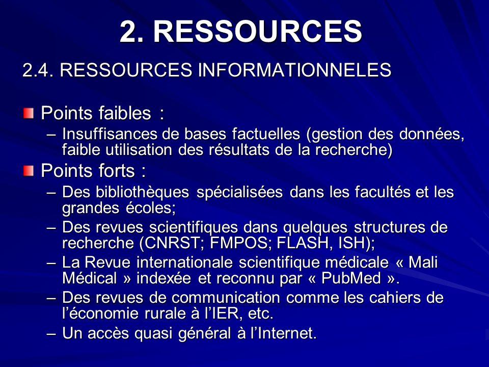 2. RESSOURCES 2.4. RESSOURCES INFORMATIONNELES Points faibles : –Insuffisances de bases factuelles (gestion des données, faible utilisation des résult