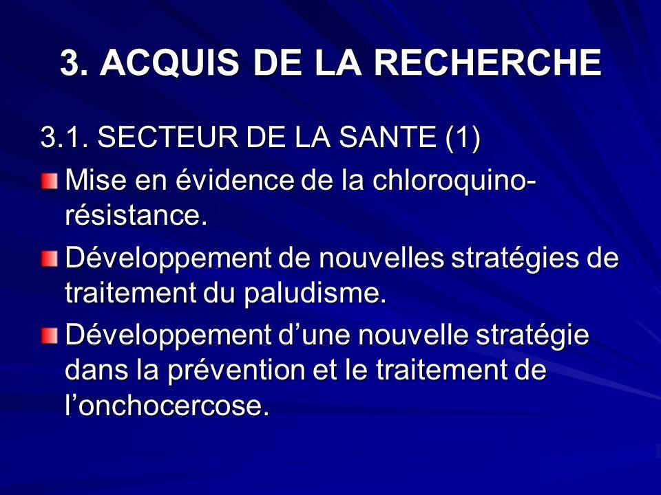 3. ACQUIS DE LA RECHERCHE 3.1. SECTEUR DE LA SANTE (1) Mise en évidence de la chloroquino- résistance. Développement de nouvelles stratégies de traite