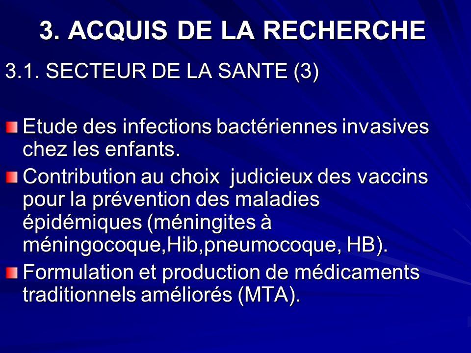 3. ACQUIS DE LA RECHERCHE 3.1. SECTEUR DE LA SANTE (3) Etude des infections bactériennes invasives chez les enfants. Contribution au choix judicieux d