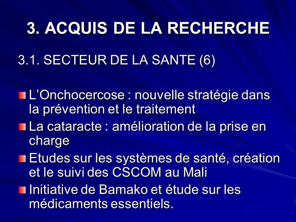 3. ACQUIS DE LA RECHERCHE 3.1. SECTEUR DE LA SANTE (6) LOnchocercose : nouvelle stratégie dans la prévention et le traitement La cataracte : améliorat