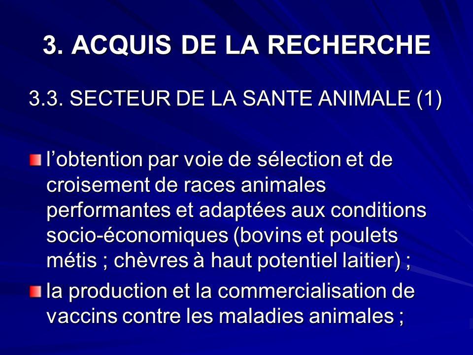3. ACQUIS DE LA RECHERCHE 3.3. SECTEUR DE LA SANTE ANIMALE (1) lobtention par voie de sélection et de croisement de races animales performantes et ada