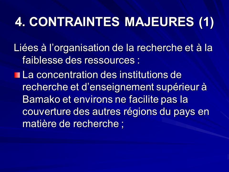 4. CONTRAINTES MAJEURES (1) Liées à lorganisation de la recherche et à la faiblesse des ressources : La concentration des institutions de recherche et