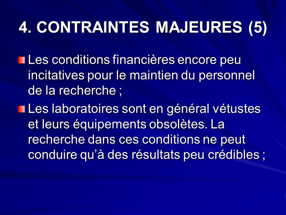 4. CONTRAINTES MAJEURES (5) Les conditions financières encore peu incitatives pour le maintien du personnel de la recherche ; Les laboratoires sont en