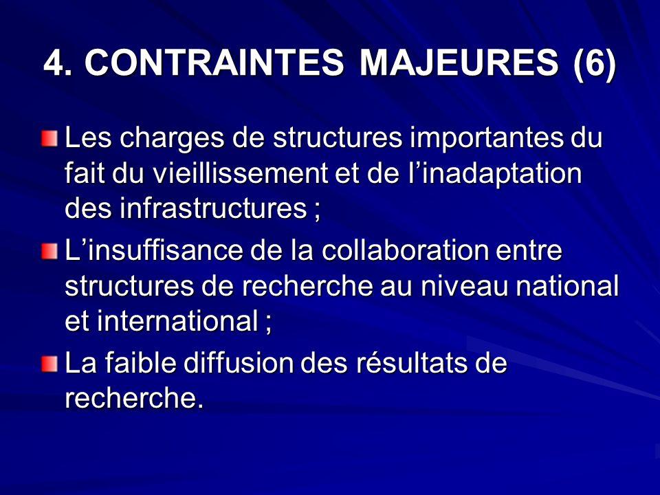 4. CONTRAINTES MAJEURES (6) Les charges de structures importantes du fait du vieillissement et de linadaptation des infrastructures ; Linsuffisance de