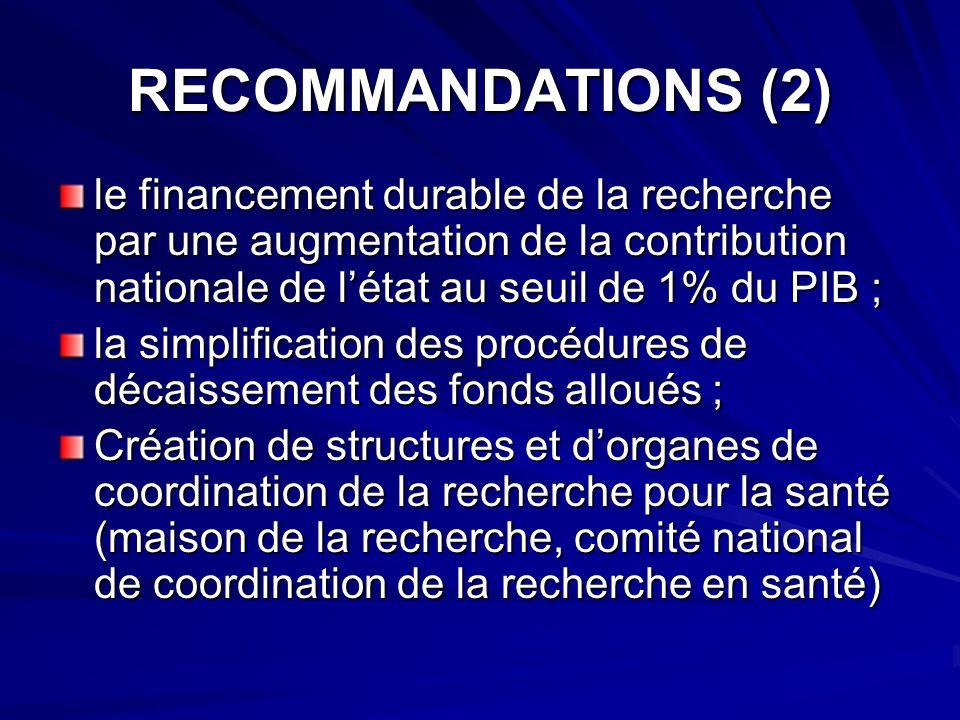 RECOMMANDATIONS (2) le financement durable de la recherche par une augmentation de la contribution nationale de létat au seuil de 1% du PIB ; la simpl