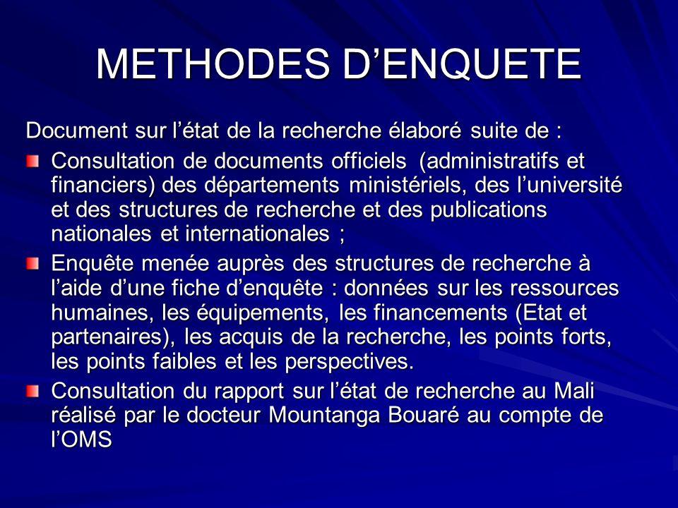 METHODES DENQUETE Document sur létat de la recherche élaboré suite de : Consultation de documents officiels (administratifs et financiers) des départe