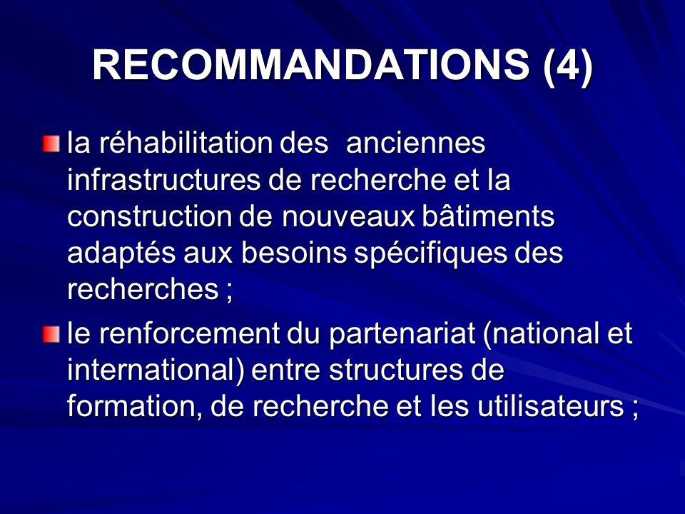RECOMMANDATIONS (4) la réhabilitation des anciennes infrastructures de recherche et la construction de nouveaux bâtiments adaptés aux besoins spécifiq