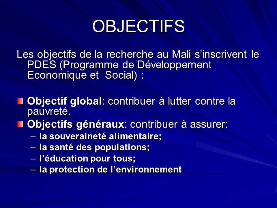 OBJECTIFS Les objectifs de la recherche au Mali sinscrivent le PDES (Programme de Développement Economique et Social) : Objectif global: contribuer à