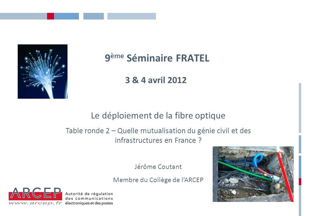 9 ème Séminaire FRATEL 3 & 4 avril 2012 Le déploiement de la fibre optique Table ronde 2 – Quelle mutualisation du génie civil et des infrastructures