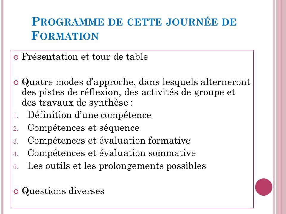 P ROGRAMME DE CETTE JOURNÉE DE F ORMATION Présentation et tour de table Quatre modes dapproche, dans lesquels alterneront des pistes de réflexion, des activités de groupe et des travaux de synthèse : 1.