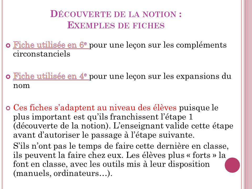 D ÉCOUVERTE DE LA NOTION : E XEMPLES DE FICHES
