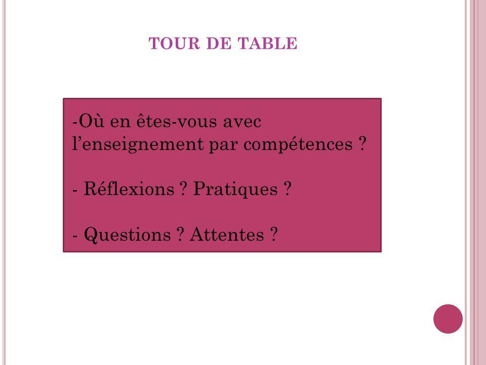 TOUR DE TABLE -Où en êtes-vous avec lenseignement par compétences .