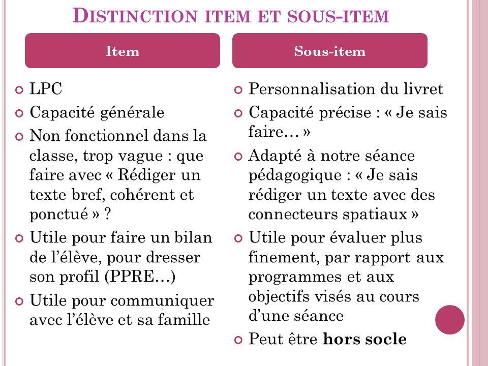 D ISTINCTION ITEM ET SOUS - ITEM LPC Capacité générale Non fonctionnel dans la classe, trop vague : que faire avec « Rédiger un texte bref, cohérent et ponctué » .