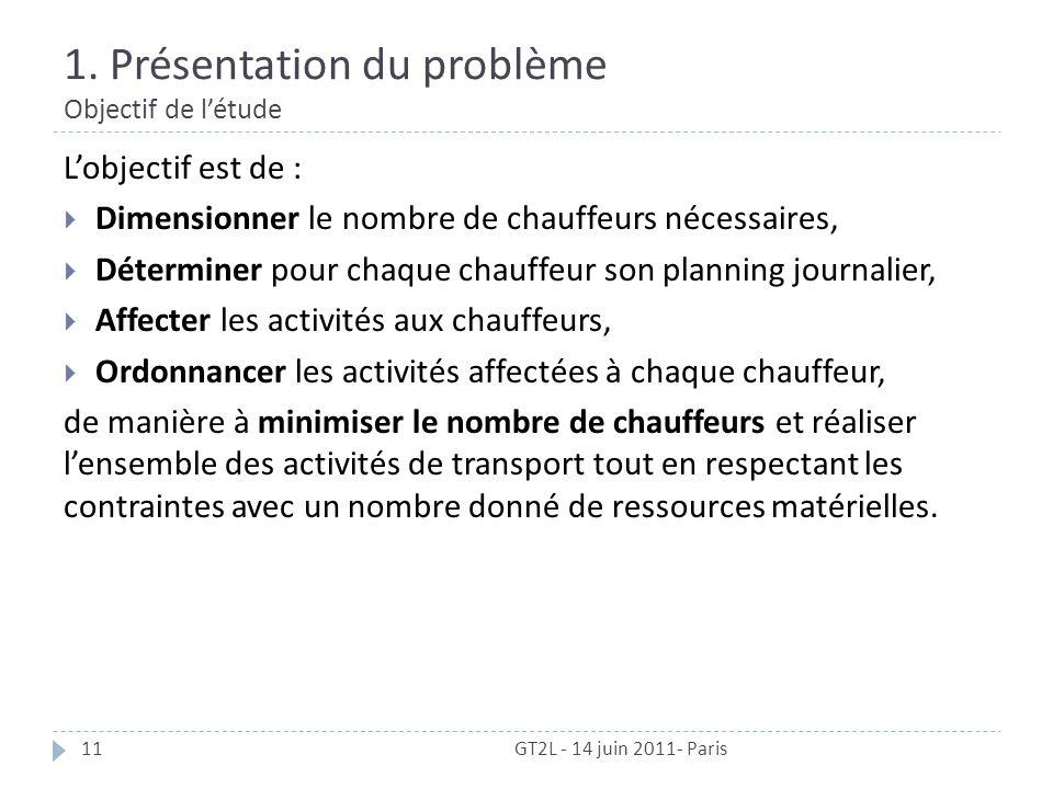 1. Présentation du problème Objectif de létude GT2L - 14 juin 2011- Paris11 Lobjectif est de : Dimensionner le nombre de chauffeurs nécessaires, Déter
