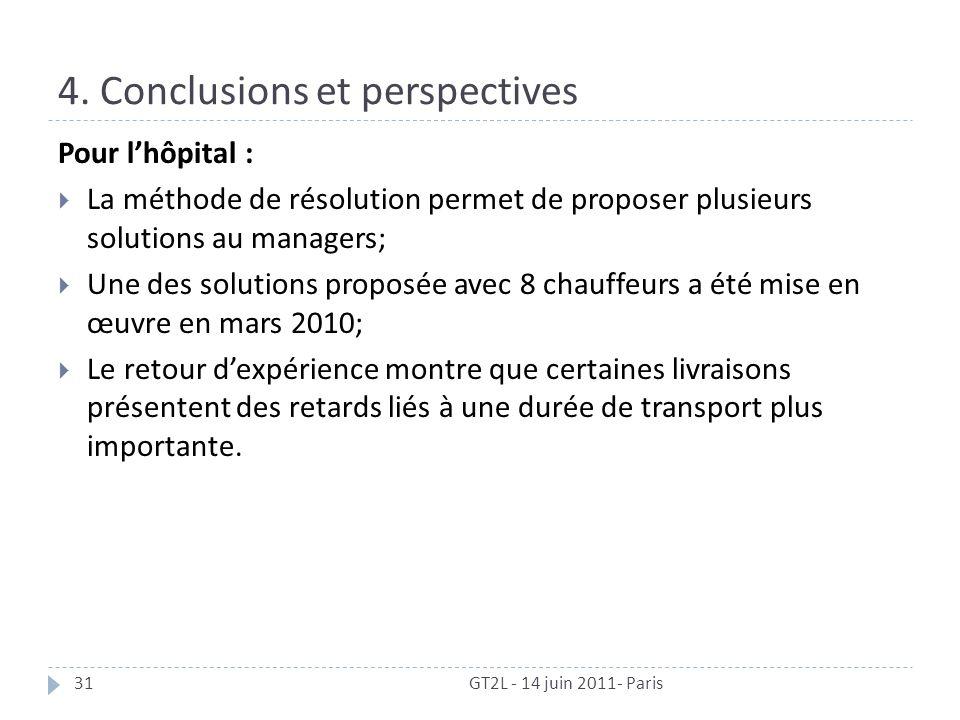 4. Conclusions et perspectives GT2L - 14 juin 2011- Paris31 Pour lhôpital : La méthode de résolution permet de proposer plusieurs solutions au manager