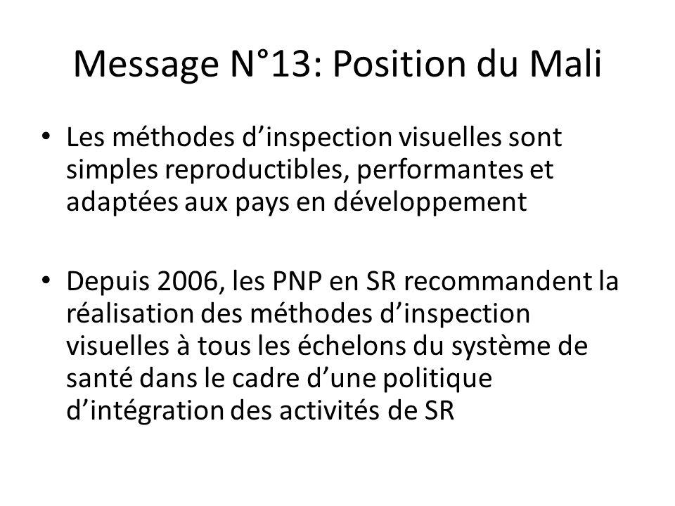 Message N°13: Position du Mali Les méthodes dinspection visuelles sont simples reproductibles, performantes et adaptées aux pays en développement Depu
