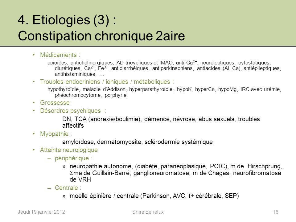 4. Etiologies (3) : Constipation chronique 2aire Médicaments : opioïdes, anticholinergiques, AD tricycliques et IMAO, anti-Ca 2+, neuroleptiques, cyto