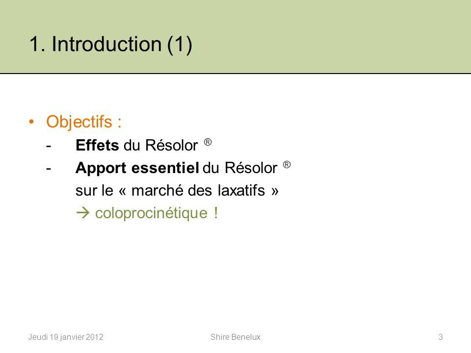1. Introduction (1) Objectifs : -Effets du Résolor ® -Apport essentiel du Résolor ® sur le « marché des laxatifs » coloprocinétique ! Jeudi 19 janvier