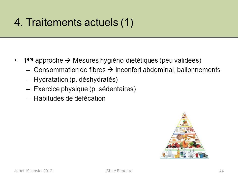 4. Traitements actuels (1) 1 ère approche Mesures hygiéno-diététiques (peu validées) –Consommation de fibres inconfort abdominal, ballonnements –Hydra