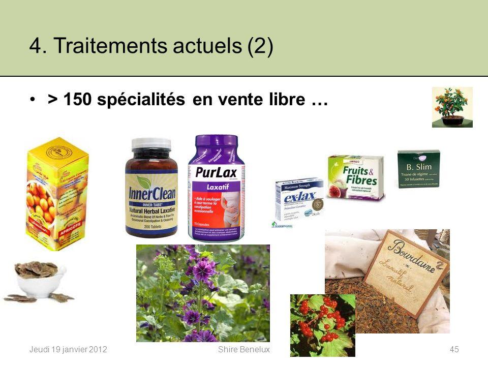 4. Traitements actuels (2) > 150 spécialités en vente libre … Jeudi 19 janvier 201245Shire Benelux