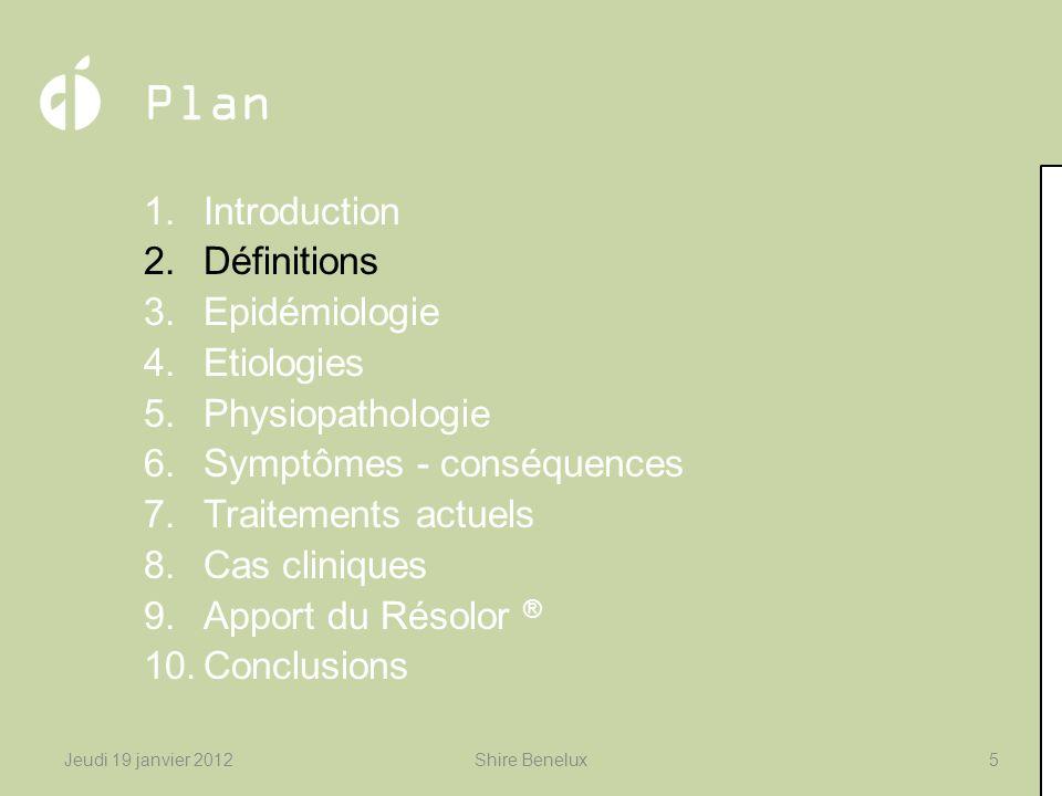 Plan 1.Introduction 2.Définitions 3.Epidémiologie 4.Etiologies 5.Physiopathologie 6.Symptômes - conséquences 7.Traitements actuels 8.Cas cliniques 9.A