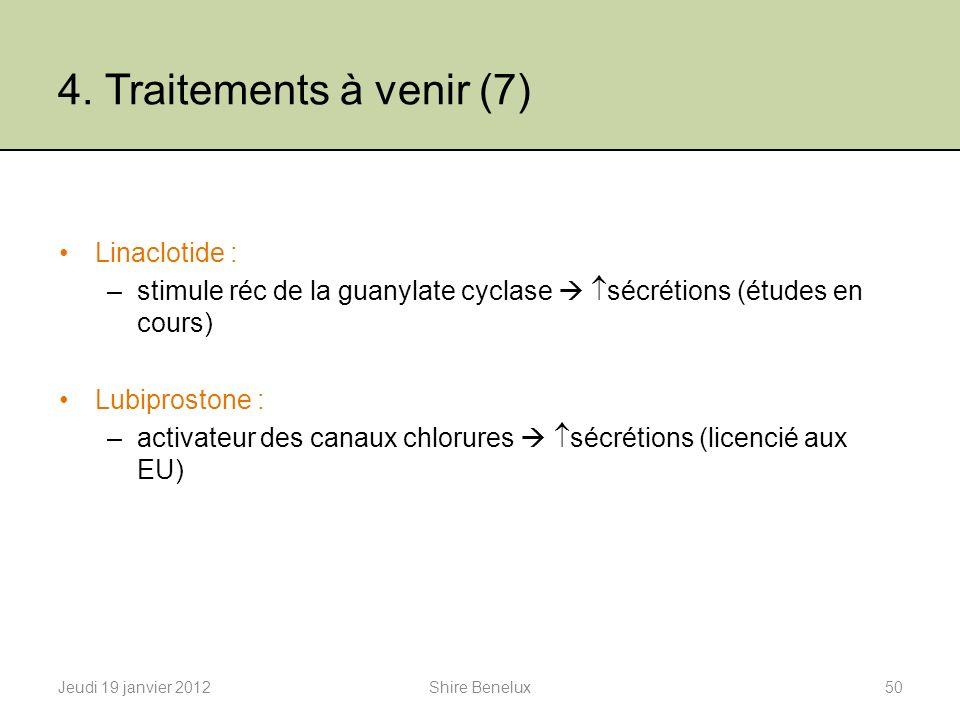 4. Traitements à venir (7) Linaclotide : –stimule réc de la guanylate cyclase sécrétions (études en cours) Lubiprostone : –activateur des canaux chlor
