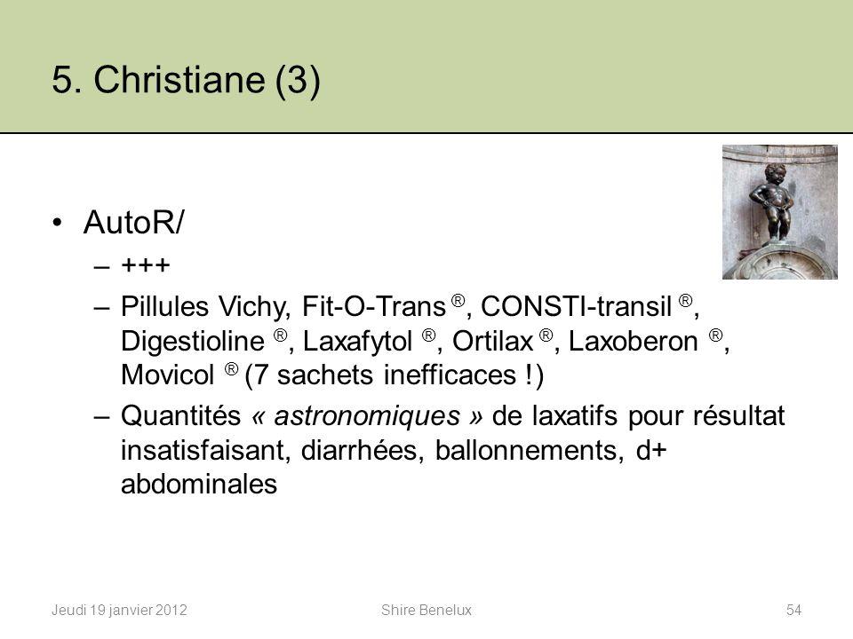 5. Christiane (3) AutoR/ –+++ –Pillules Vichy, Fit-O-Trans ®, CONSTI-transil ®, Digestioline ®, Laxafytol ®, Ortilax ®, Laxoberon ®, Movicol ® (7 sach