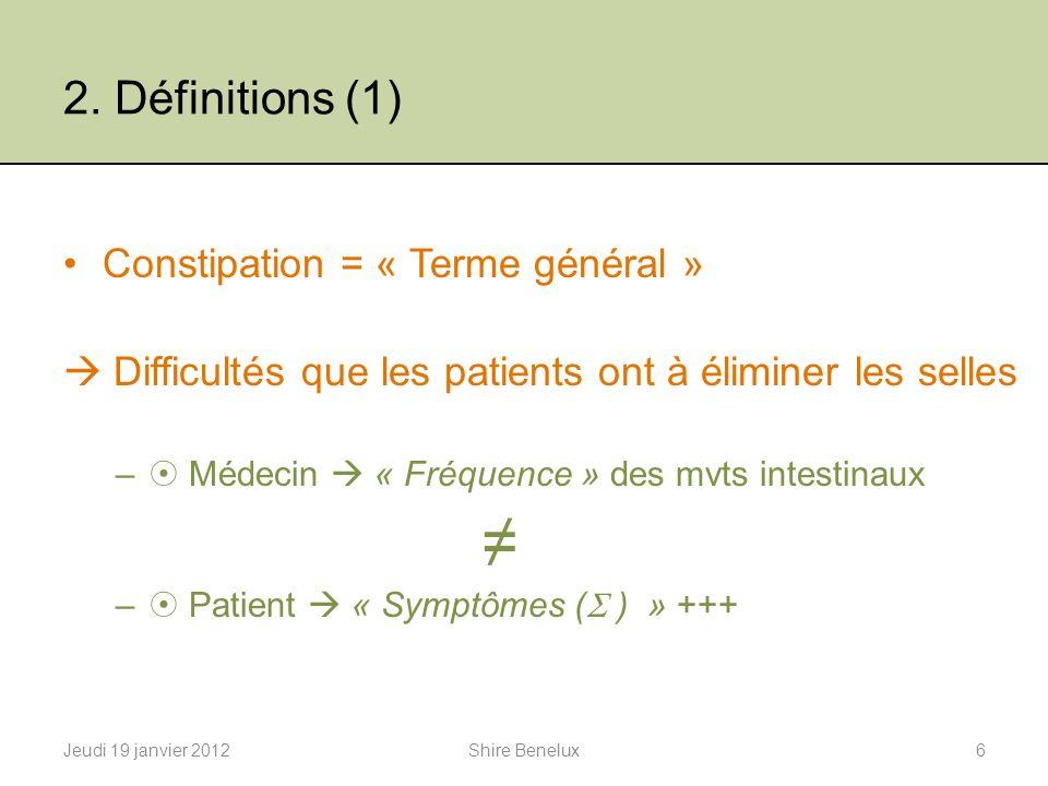 2. Définitions (1) Constipation = « Terme général » Difficultés que les patients ont à éliminer les selles – Médecin « Fréquence » des mvts intestinau
