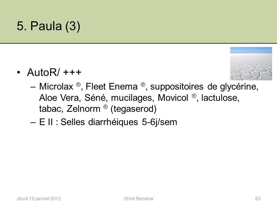 5. Paula (3) AutoR/ +++ –Microlax ®, Fleet Enema ®, suppositoires de glycérine, Aloe Vera, Séné, mucilages, Movicol ®, lactulose, tabac, Zelnorm ® (te