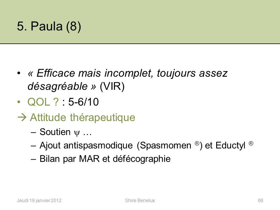 5. Paula (8) « Efficace mais incomplet, toujours assez désagréable » (VIR) QOL ? : 5-6/10 Attitude thérapeutique –Soutien … –Ajout antispasmodique (Sp