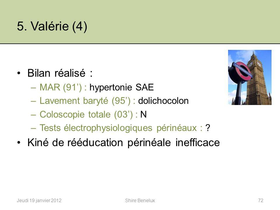 5. Valérie (4) Bilan réalisé : –MAR (91) : hypertonie SAE –Lavement baryté (95) : dolichocolon –Coloscopie totale (03) : N –Tests électrophysiologique