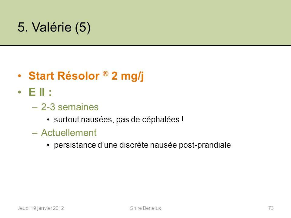 5. Valérie (5) Start Résolor ® 2 mg/j E II : –2-3 semaines surtout nausées, pas de céphalées ! –Actuellement persistance dune discrète nausée post-pra