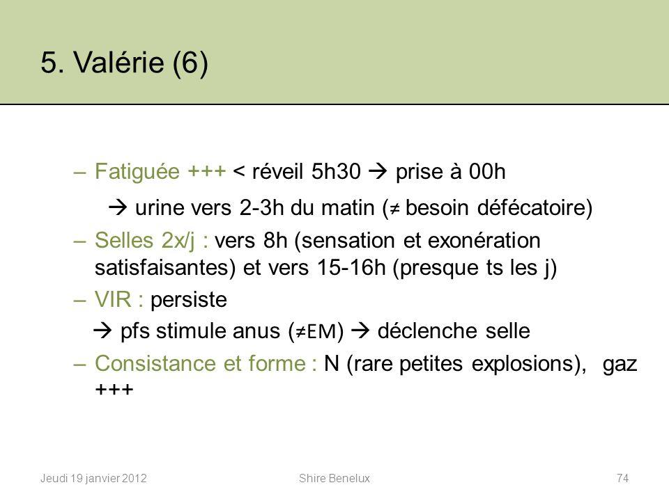 5. Valérie (6) –Fatiguée +++ < réveil 5h30 prise à 00h urine vers 2-3h du matin ( besoin défécatoire) –Selles 2x/j : vers 8h (sensation et exonération