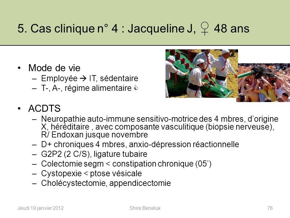 5. Cas clinique n° 4 : Jacqueline J, 48 ans Mode de vie –Employée IT, sédentaire –T-, A-, régime alimentaire ACDTS –Neuropathie auto-immune sensitivo-