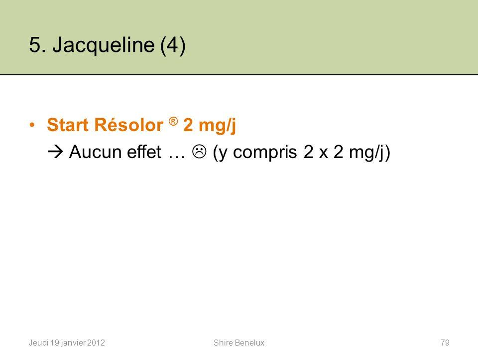 5. Jacqueline (4) Start Résolor ® 2 mg/j Aucun effet … (y compris 2 x 2 mg/j) Jeudi 19 janvier 201279Shire Benelux