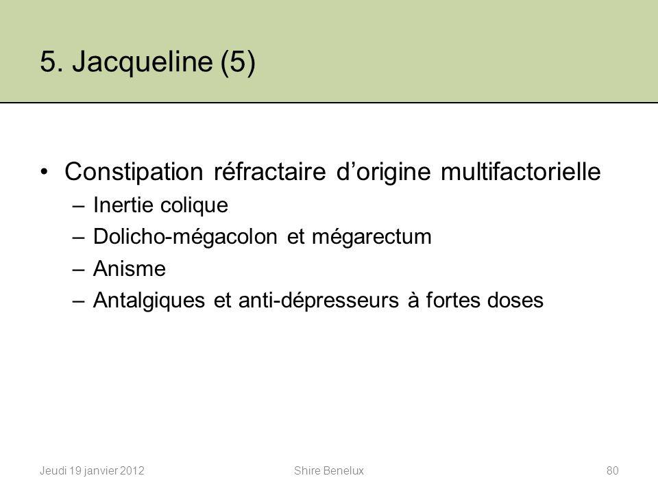 5. Jacqueline (5) Constipation réfractaire dorigine multifactorielle –Inertie colique –Dolicho-mégacolon et mégarectum –Anisme –Antalgiques et anti-dé