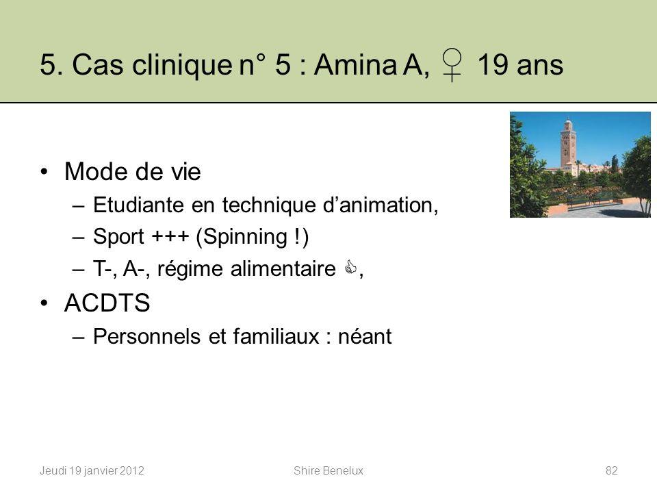 5. Cas clinique n° 5 : Amina A, 19 ans Mode de vie –Etudiante en technique danimation, –Sport +++ (Spinning !) –T-, A-, régime alimentaire, ACDTS –Per