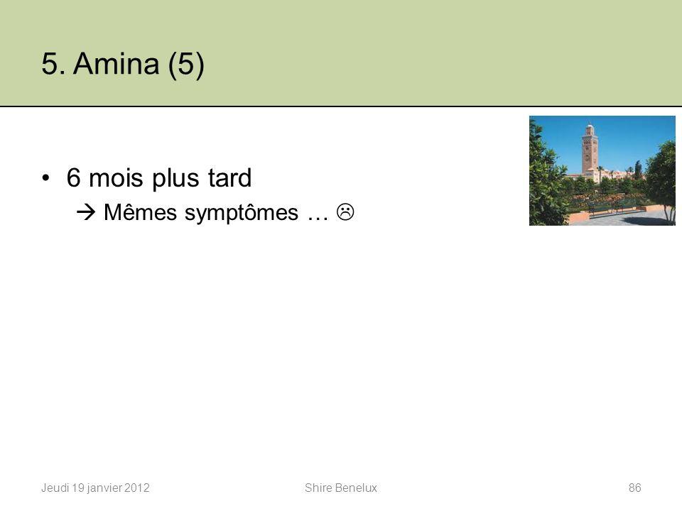 5. Amina (5) 6 mois plus tard Mêmes symptômes … Jeudi 19 janvier 201286Shire Benelux
