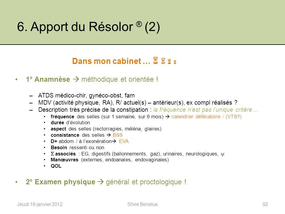 6. Apport du Résolor ® (2) Dans mon cabinet … 1° Anamnèse méthodique et orientée ! –ATDS médico-chir, gynéco-obst, fam –MDV (activité physique, RA), R