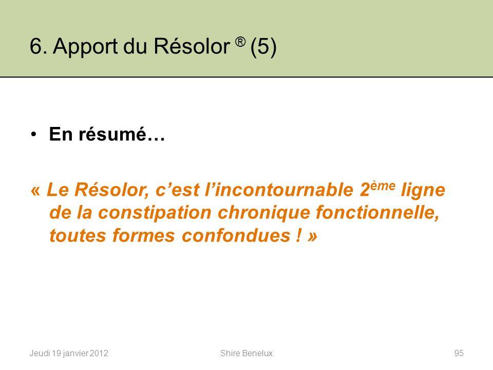6. Apport du Résolor ® (5) En résumé… « Le Résolor, cest lincontournable 2 ème ligne de la constipation chronique fonctionnelle, toutes formes confond