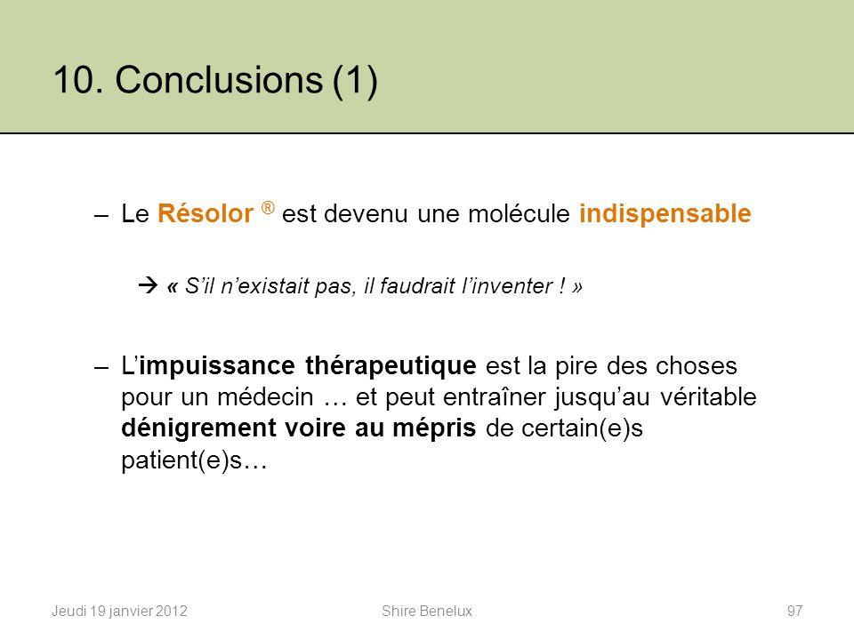 10. Conclusions (1) –Le Résolor ® est devenu une molécule indispensable « Sil nexistait pas, il faudrait linventer ! » –Limpuissance thérapeutique est