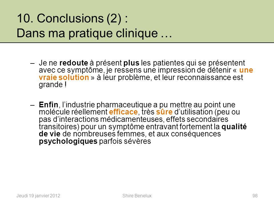 10. Conclusions (2) : Dans ma pratique clinique … –Je ne redoute à présent plus les patientes qui se présentent avec ce symptôme, je ressens une impre