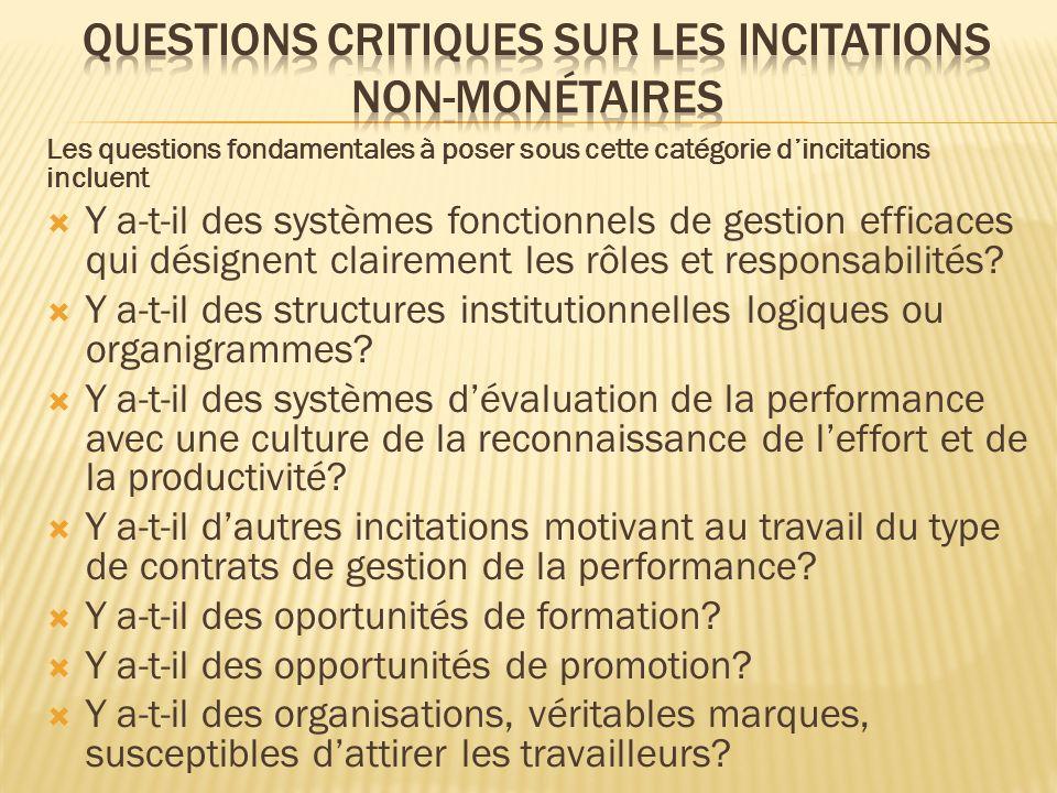 Les questions fondamentales à poser sous cette catégorie dincitations incluent Y a-t-il des systèmes fonctionnels de gestion efficaces qui désignent clairement les rôles et responsabilités.