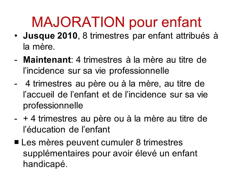 MAJORATION pour enfant Jusque 2010, 8 trimestres par enfant attribués à la mère.